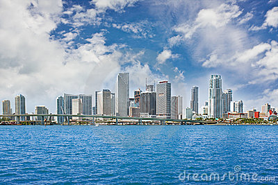 Colorful panorama of Miami downtown buildings