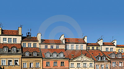 Colorful panorama of rooftops of old townhouses