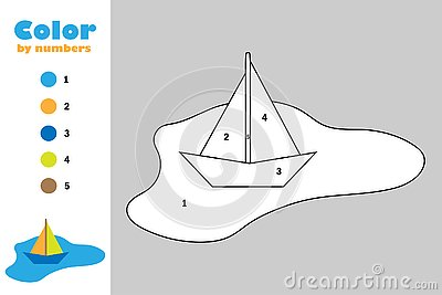 Colorful paper boat in puddle in cartoon style, color by number, education paper game for the development of children, coloring Stock Photo