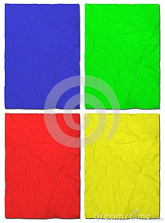 Colorful paper crumpled set isolated