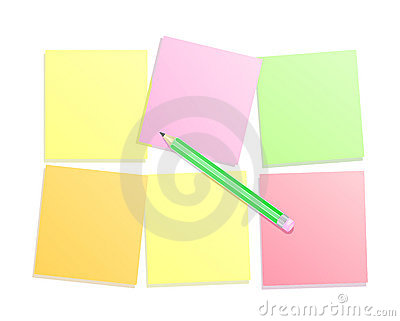 Colorful paper note with pencil