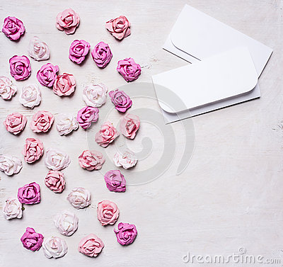 Free Colorful Paper Roses With Envelopes, Valentine S Day Border ,with Text Area  White Wooden Rustic Background Top View Close Up Royalty Free Stock Photography - 65612927