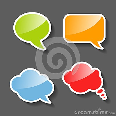Colorful Paper Speech Bubbles Set