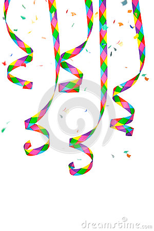 Colorful paper streamer and confetti