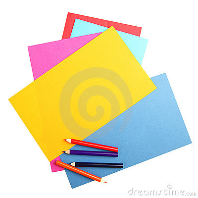 Colorful papers and crayons