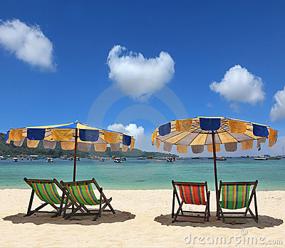 Colorful parasols and deck chairs