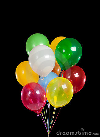 Colorful Party Balloons On Black Background Stock Photos - Image ...