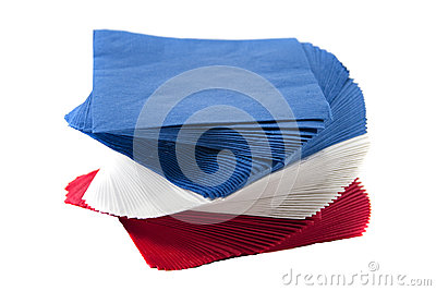 Colorful Party Napkins on Isolated White Background