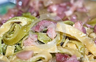 Colorful pasta alla carbonara