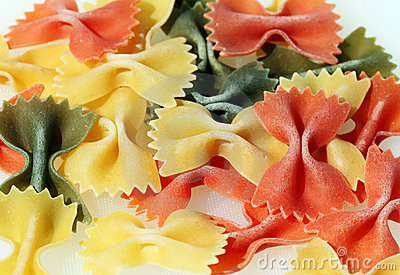 Colorful pasta bows