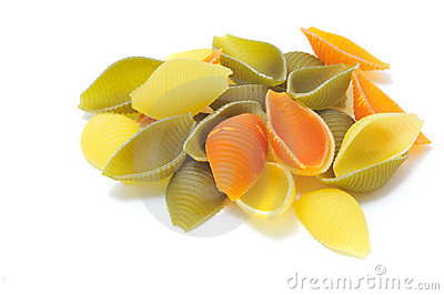 Colorful pasta conchiglie rigate