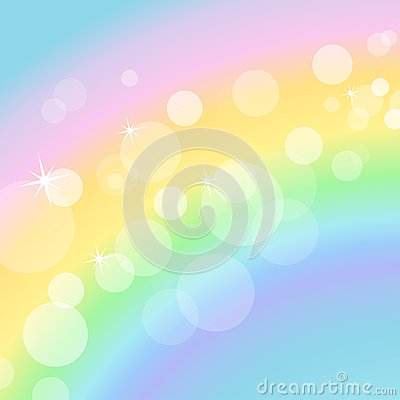 Colorful pastel background with rainbow and bokeh Cartoon Illustration
