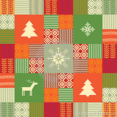 Colorful patchwork style christmas background
