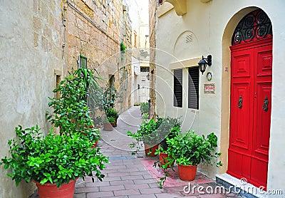 Colorful patio in Malta Editorial Stock Image