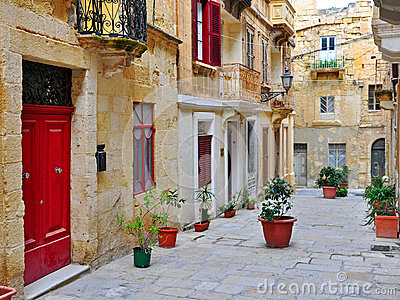 Colorful patio in Valletta