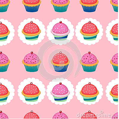 Colorful pattern with cupcakes