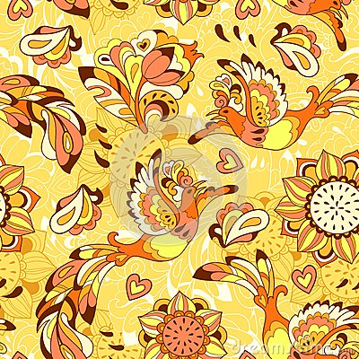Free Colorful Pattern With Bird Phoenix And Sunflower Stock Photography - 40556992