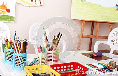 Colorful pencil in art class.