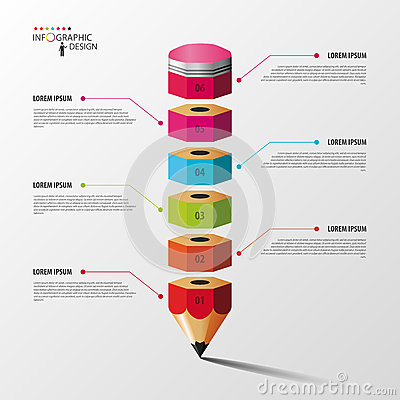 Free Colorful Pencil Infographics Step Option. Vector. Stock Images - 55187014