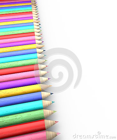 Colorful pencil row
