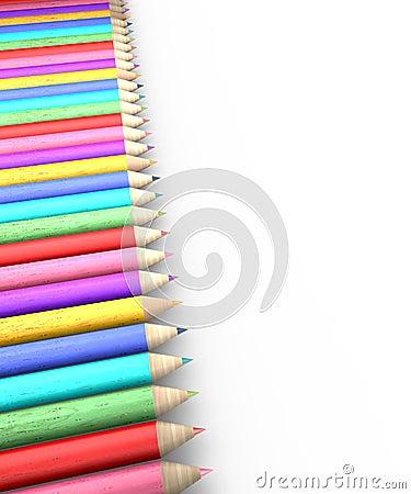 Colorful pencil row