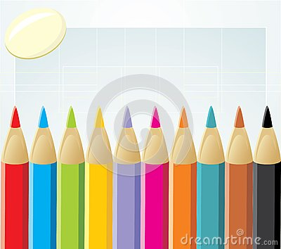 Colorful pencils and elastic