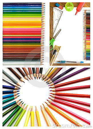 Colorful pencils and office supplies collage