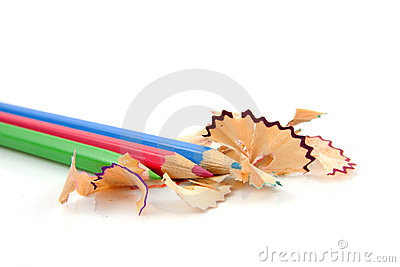 Colorful pencils with shavings