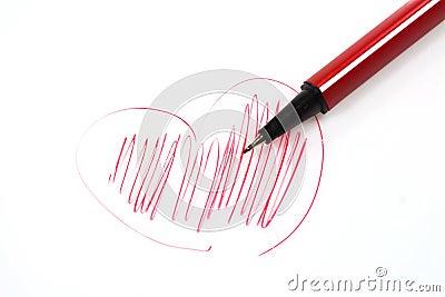 Colorful pens a heart shape.
