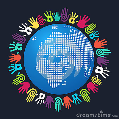 Diversity human hand Europe and Africa map