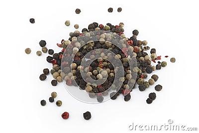 Colorful pepper grains