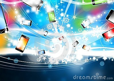 Colorful Phones flying Xmas Background