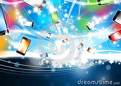 Colorful Phones flying Xmas Background