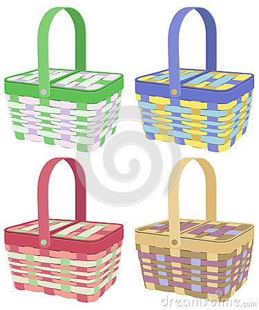 Colored picnic baskets
