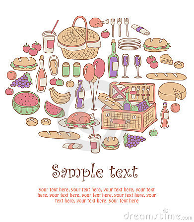 Colorful picnic card