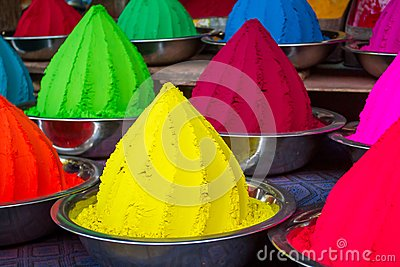 Colorful piles of powdered dyes