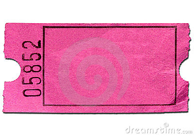 Colorful pink blank admission ticket.