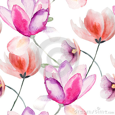 Free Colorful Pink Flowers, Watercolor Illustration Royalty Free Stock Images - 33934299