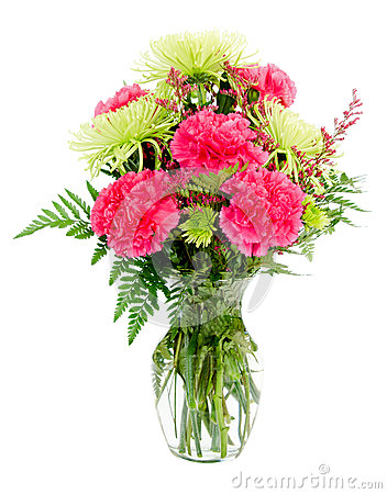Colorful pink and green flower arrangement