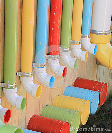 Colorful Pipes and Buckets