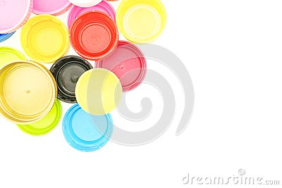 Colorful plastic bottle cap recycling garbage isolated Stock Photo