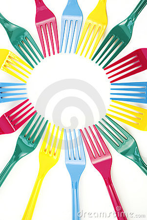 Colorful Plastic Forks Background
