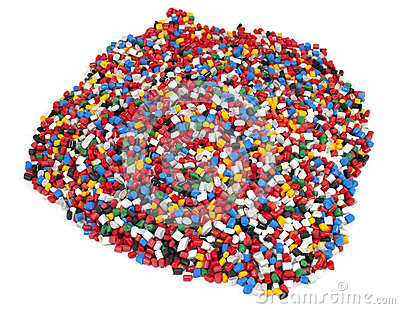 Colorful plastic polymer granules