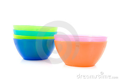 Colorful plastic snack bowls