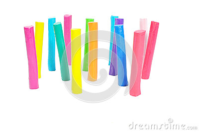Colorful plasticine stick  on white background