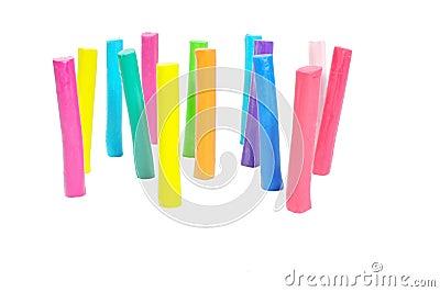 Colorful plasticine stick  on white background