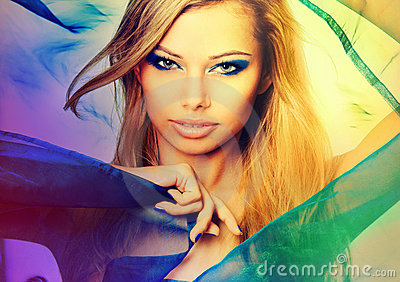 Colorful portrait of a sexy young blond woman