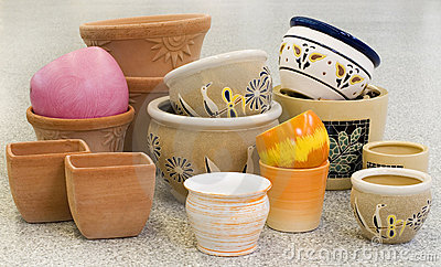 Colorful pots collection