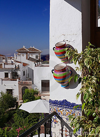Free Colorful Pots On The Mediterranean Balcony Royalty Free Stock Photography - 7913537