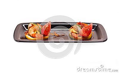 Colorful  prawn shrimps appetizer snack